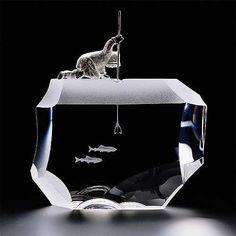 Steuben Glass Jim Houston Niviaksiak Through the Ice