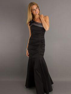 Black One Shoulder Back Zipper Ruched Bodice Floor Length Evening Dresses