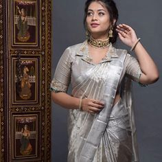 Never underestimate a silver hue swetha redefining silk saree style with this gorgeous drape from sarees and… Saree Blouse Neck Designs, Fancy Blouse Designs, Bridal Blouse Designs, Collar Designs, Blouse For Silk Saree, Pattern Blouses For Sarees, Latest Blouse Designs, Seda Sari, Sari Bluse