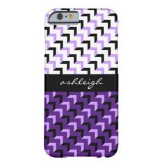 Personalized iPhone case, black, white, purple & lilac zigzag pattern, add your name on the black ribbon across the center. Select CUSTOMIZE to see other device case options with this design.