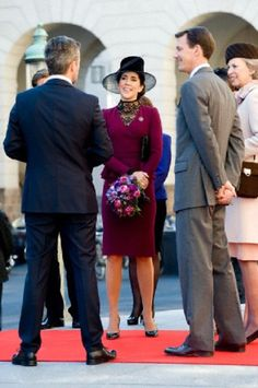 Crown Princess Mary, Prince Joachim, Princess Marie and Princess Benedikte on the entrance of the parliament in Christiansborg Palace, 01.10.13