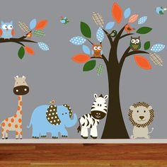 Jungle tree wall decal owls birds nursery tree decal lion elephant giraffe boy girl nursery decal