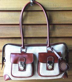 Dooney Bourke Double Pocket Bag Signature Fabric Leather Photo Tag QVC #DooneyBourke #SatchelShoulder