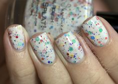 Oh Splat! nail polish by KBShimmer. $8.50 each, white nail polish with rainbow glitters.