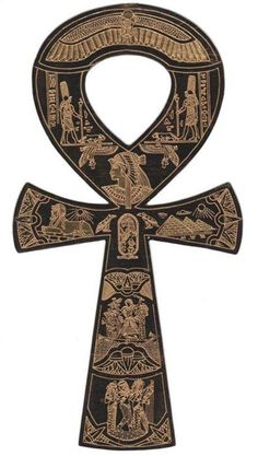 "The Ankh also known as key of life was the ancient Egyptian hieroglyphic character that read ""eternal life"" An Ankh serves as an antenna or conduit for the divine power of life that permeates the universe. It is associated with Isis and Osiris in the Early Dynastic Period. The Loop of the Anhk also represent the feminine discipline or the womb, while the elongated section represent the masculine discipline. These two sacred units then come together and form life."