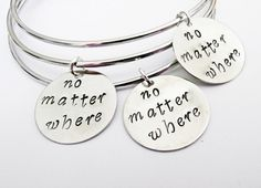 Three best friends No matter where bangle bracelets, charm bracelets, expandable bangle, charm bangle, 3 bff bracelet moving away, college by RobertaValle on Etsy