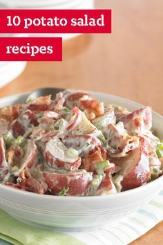 10 Potato Salad Recipes – Potato salad: the all-American side dish for everything from picnics to potlucks. In addition to having creamy options, these delicious recipes show you how to use a vinegar-based sauce, add a bit of color, or even incorporate sweet potatoes!