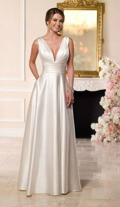 Simple Elegant Satin Wedding Dress for Older Brides Over 40, 50, 60, 70. Elegant Second Wedding Dress Ideas.