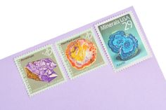 Crystals & Stones Stamp Set - Vintage Unused Postage for your wedding, event or every day mailings! Enough to mail 8 letters