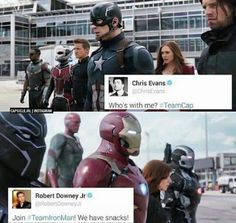 They're both huge idiots and I don't want to take sides #TeamCap #TeamIronMan