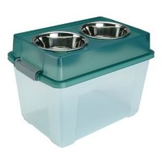 IRIS Dog Airtight Elevated Storage Feeder with 2 Stainless Steel Bowls @Sarah Shields Johnson