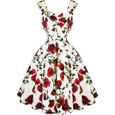 Hearts Roses London White and Red Floral 1950s Dress Dresses ($50) ❤ liked on Polyvore featuring dresses, white dress, red floral dress, goth dresses, gothic dresses and prom dresses