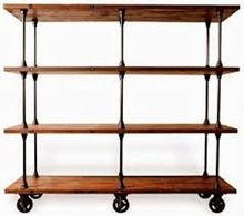 Allenby Industrial Reclaimed Wood 4 Shelf Rolling Bookcase - L storage-units-and-cabinets Reclaimed Wood Bookcase, Metal Bookcase, Wood Shelves, Shelving Units, Eclectic Storage Cabinets, Eclectic Bookcases, Modern Industrial Decor, Industrial House, Industrial Furniture
