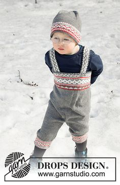 Shinny Upatree - Knitted trousers for babies and children in DROPS Baby Merino. The piece is worked top down, with Nordic pattern. Baby Romper Pattern Free, Free Baby Patterns, Knitting Patterns Free, Free Knitting, Baby Knitting, Free Pattern, Crochet Patterns, Drops Design, Drops Baby
