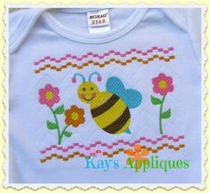 Baby Kay's Appliques - Bee Faux Smock 4x4, 7x3, 7x5, $2.00 (http://www.babykaysappliques.com/bee-faux-smock-4x4-7x3-7x5/)