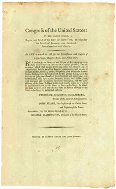 Printed Act of #Congress signed in type by George #Washington and John #Adams about taxes in Baltimore harbor.