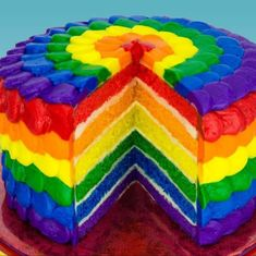 Cake decorating classes - How to decorate a rainbow cake covered with rainbow frosting step by step DIY tutorial instructions Rainbow Food, Taste The Rainbow, Over The Rainbow, Rainbow Things, Rainbow Stuff, Cookies Cupcakes And Cardio, Cake Cookies, Cupcake Cakes, Rainbow Layer Cakes