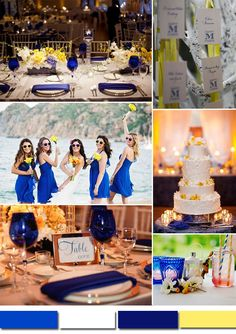 pale yellow and royal blue wedding color ideas for spring summer wedding 2015