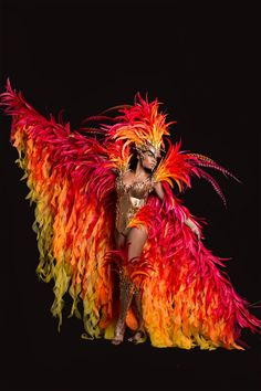 Bacchanalia Mas Band presents The Phoenix for London Notting Hill Carnival 2016 ( So I really want to put this with the flame dress ) Showgirl Costume, Costume Carnaval, Samba Costume, Circus Costume, Burlesque Costumes, Dance Costumes, Cosplay Costumes, Halloween Costumes, Brazil Carnival Costume