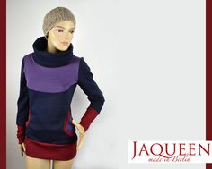 Winter Sweat Pullover mit Kragen und Taschen von Jaqueen auf DaWanda.com