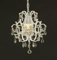 Wrought Iron Crystal Chandelier Lighting Country French White. Adding a chandelier (big or small) makes a room look so fancy! This is on my registry for only $70!