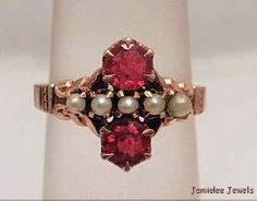 Victorian 14K Rose Gold Ring with Red Stones & Seed Pearls