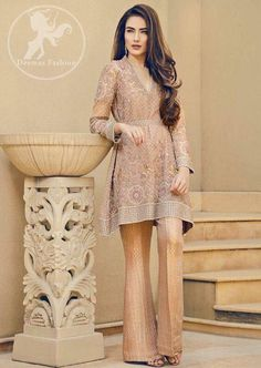 Wedding Party dress skin and gold color with dabka threads nagh and perl work Model 81 Pakistani Wedding Outfits, Pakistani Dresses, Indian Dresses, Indian Outfits, Wedding Gowns, Pakistani Couture, Pakistani Dress Design, Short Frocks, Pakistan Fashion