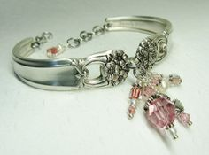 Silver Spoon Bracelet, Eternally Yours 1941, Pink Crystals, Silver Heart & White Pearls