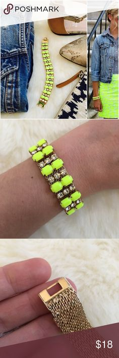 """J. Crew Citron Bracelet Super cute and ultra sunny bracelet. Features bright citron gems and rhinestones for just enough sparkle. Mesh backing makes this bracelet really comfortable. Good used condition, there is slight wear on the clasp, barely noticeable and the clasp is in perfect working condition. Pair this with my J. Crew citron tassel necklace. Factory item. 7"""" x 3/8"""" J. Crew Jewelry Bracelets"""