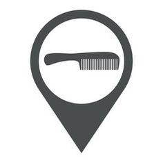 Icono plano localizacion peine con mango gris