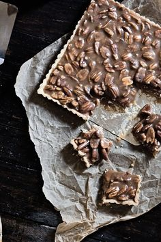 Caramel Pecan Bars - this should work without the crust, if you're in a hurry. Just make in a baking tin w buttered sandwich paper or in a silicone pan.