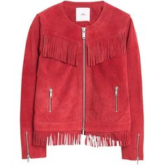 Mango Fringed Suede Jacket , Red ($95) ❤ liked on Polyvore featuring outerwear, jackets, red, red zipper jacket, long sleeve jacket, suede fringe jacket, fringe jacket i short jacket
