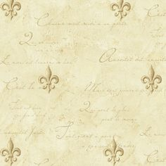 Old World Fleur De Lis On Cream With French Writing Wallpaper for sale online Velvet Wallpaper, Home Wallpaper, Wallpaper Ideas, Mural Wall Art, Tuscan Style, French Decor, Old World, Decor Styles, Writing