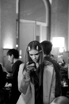 Marine Deleeuw at Atelier Versace Haute Couture S/S 2014 backstage.