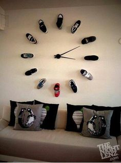 Man cave clock. I like the idea...but weather new or old, the fabric would need a lot of attention. I think I'd rather use sk8 board wheels.