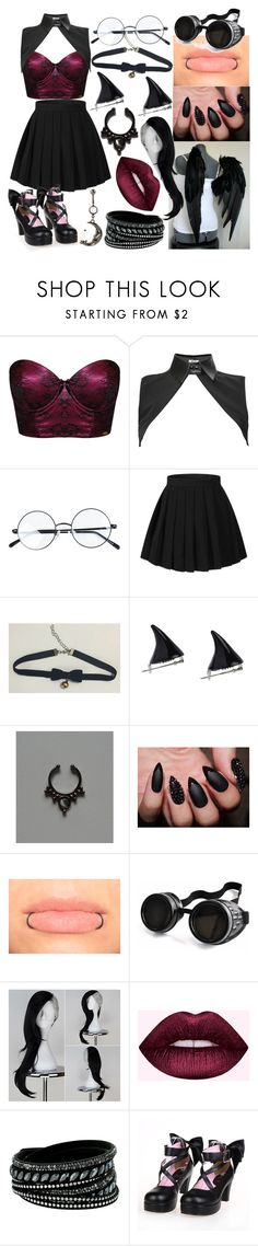 """""""Dark Angel"""" by dappershadow ❤ liked on Polyvore featuring Ultimo, Neat Collar, Poizen Industries, Swarovski and Hot Topic"""