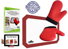 Best Silicone Oven-BBQ Mitts-Potholders with Free-Bonus Silicone Bake Mat/ Cookie Sheet Liner, Professional Baking Supplies Set, Half Sheet, Non Stick 3 Pack Red - Read Our Rave Reviews