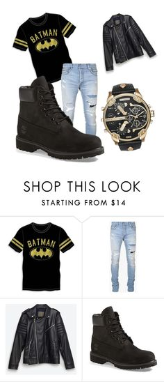 """liam Payne"" by carolinelostinneverland on Polyvore featuring Bioworld, Balmain, Zara, Timberland, Diesel, men's fashion and menswear"