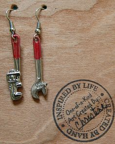 """""""Don't be a Tool"""" #Pipe-wrench #Crescent-wrench Fishhook Earrings (CS)"""