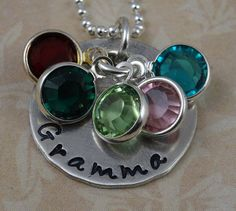 Grandma Love Sterling Silver Hand Stamped Necklace Custom Mother's Day Gift rose creek cottage etsy
