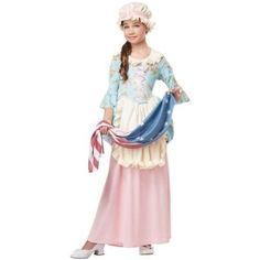 Girls Colonial Lady Costume Size Medium 8-10, Girl's, Multi