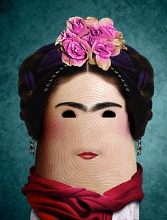 """Frida ~ Ditology, portraits of famous people on fingers by """"Dito Von Tease,"""" an Italian artist"""