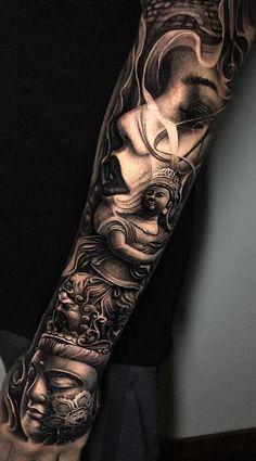 100 tatuagens masculinas no braço para você se inspirar - Fotos e Tatuagens Japanese Tattoo Designs, Japanese Sleeve Tattoos, Best Sleeve Tattoos, Tattoo Sleeve Designs, Buddhist Symbol Tattoos, Buddha Tattoos, Hindu Tattoos, Full Body Tattoo, Body Art Tattoos