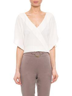 Blusa Feminina Ampla Crepe - Shoulder - Off White  - Shop2gether