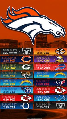 PSB has the latest schedule wallpapers for the Denver Broncos. Denver Broncos Schedule, Nfl Football Schedule, Nfl Broncos, Texans Football, Denver Broncos Football, Football Art, Sport Football, Football Season, Broncos Memes
