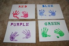 Handprint Color Sorting - could also use for color mixing (ex: one blue, one yellow, have children rub their hands together to make two green)