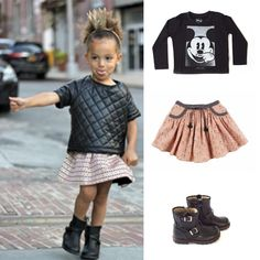 GIRLS LOOK - Shirt by Little Eleven Paris - Skirt by Louise Misha - Shoes by MoMiNo