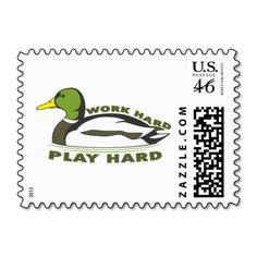 Work Hard Play Hard Mallard Duck Postage Stamps