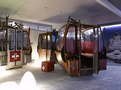 The Google Zurich offices have various different themed Gondolas, including these fake ski cabin designs. Creative Spaces : #1 Properties