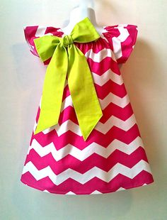 Toddler Chevron Dress Girls Chevron Dress Hot Pink with Lime or Turquoise Sizes 2T - 6 by 8th Day Studio
